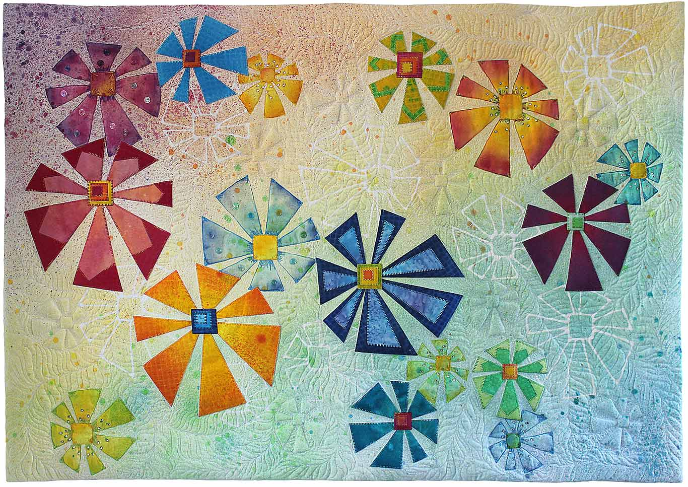 Geometric Flowers Quilt in Pastel Rainbow