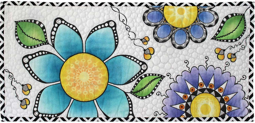 Black White Blue and Purple Doodle Zentangle Flowers Quilt_edit