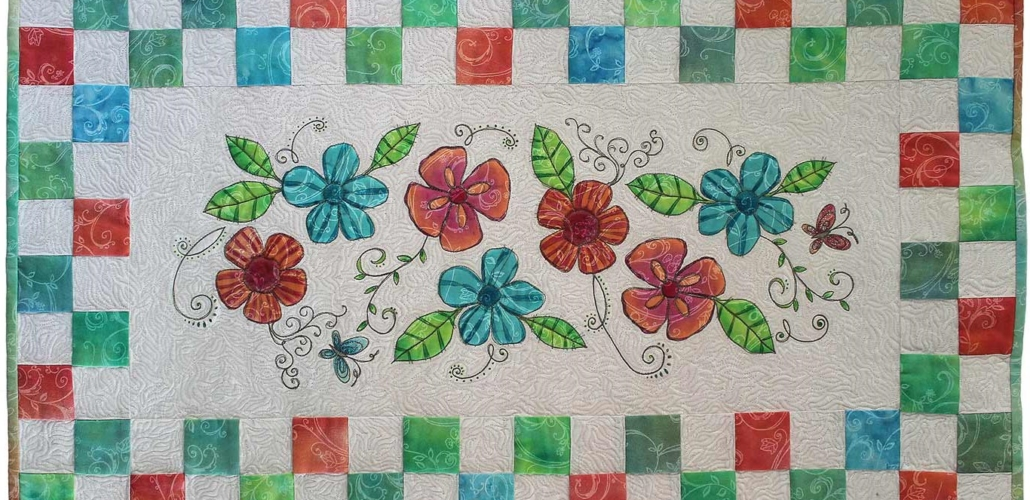 Long Narrow Hibiscus Quilt with Tropical Colors_edit